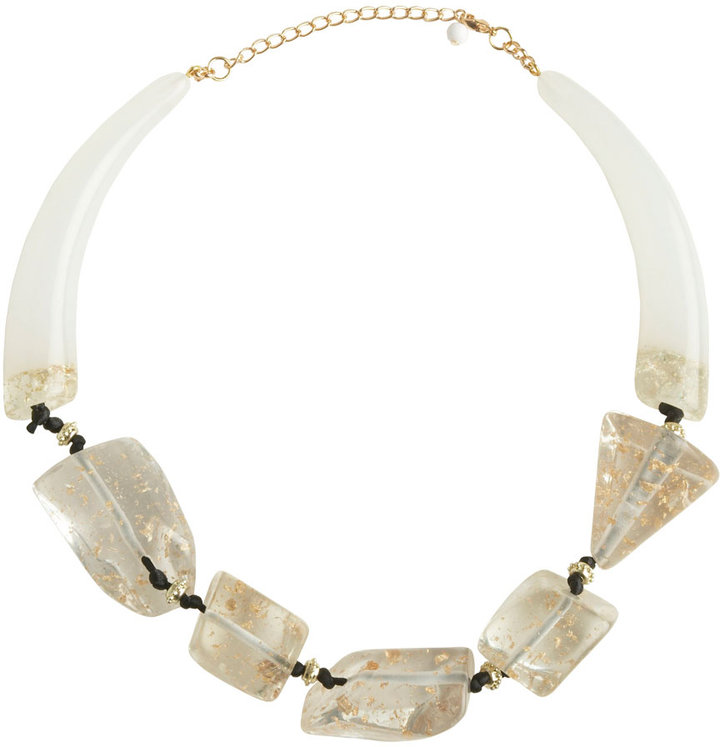 Large Lucite Stone and Horn Necklace