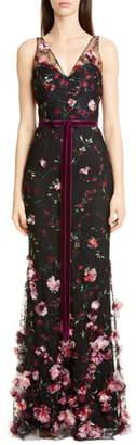 Marchesa Floral Applique Trumpet Gown