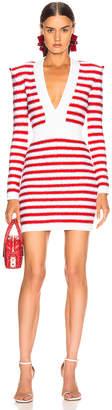 Balmain V Neck Tricolored Stripe Dress in White & Red & Blue | FWRD