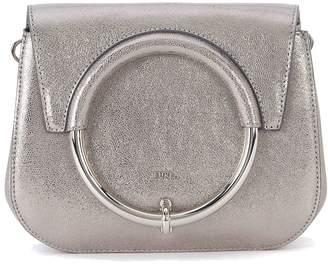 Furla Margherita Mini Shoulder Bag In Silver Metal Leather With Metal Ring.