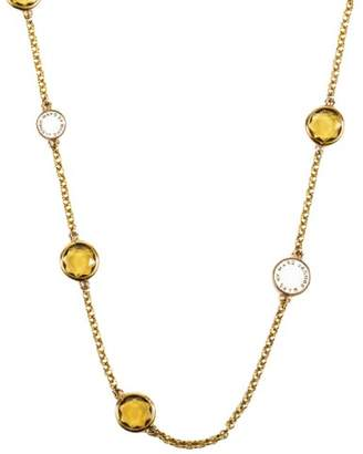 Marc by Marc Jacobs Gold Tone Olive White Embellished Chain Necklace