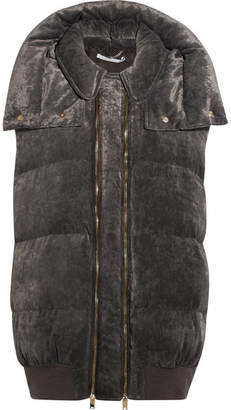 Hooded Quilted Velvet Gilet - Gray