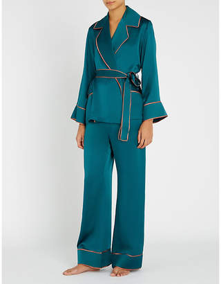 Marjolaine Contrast-piped silk-satin pyjama set
