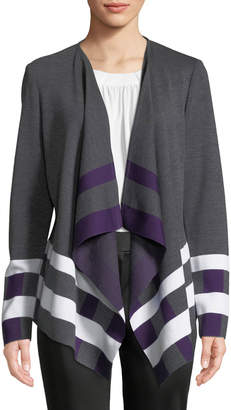 St. John Striped-Trim Draped Open-Front Cardigan