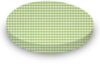 Stokke sheetworld Fitted Oval Crib Sheet Sleepi) - Sage Gingham Jersey Knit - Made In USA - 26 inches x 47 inches (66 cm x 119.4 cm)