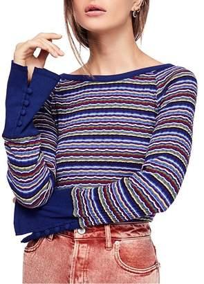 Free People Donna Striped Rib-Knit Tee