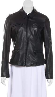 DKNY Zip-Up Leather Jacket