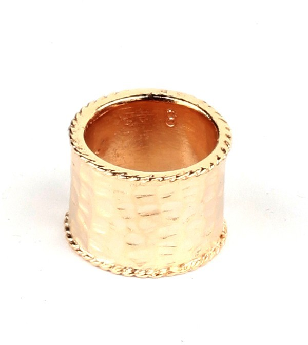 Lisa Stewart Hammered Cocktail Band with Twist Border Ring