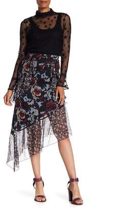 Anna Sui Birds & Roses Crepe Skirt