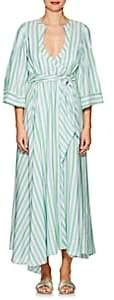 Thierry Colson Women's Sultane Striped Silk Wrap Dress - Mint, Heaven blue