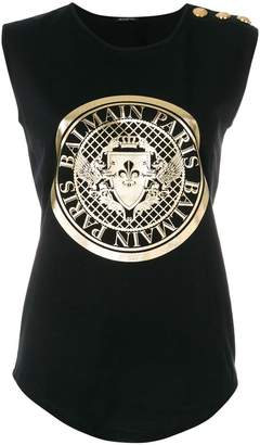 Balmain printed logo crest tank top
