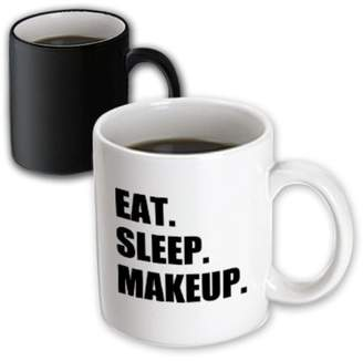 3dRose Eat Sleep Makeup - make-up artist cosmetics passion black text gifts, Magic Transforming Mug, 11oz