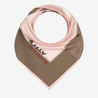 Bally Racing Print Square Scarf Pink, Women's silk scarf in petal