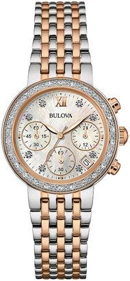 Bulova Diamonds Maiden Lane Womens Diamond-Accent Chronograph Bracelet Watch 98R215 $550 thestylecure.com