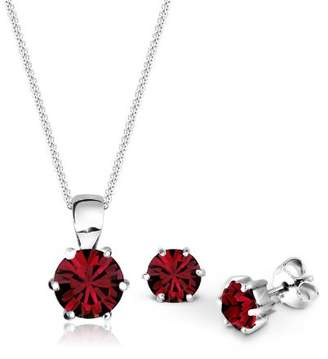 Elli Women's 925 Sterling Silver Xilion Cut Red Swarovski Crystal Pendant Necklace of Length 45 cm with Stud Earrings