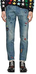 Gucci Men's Embroidered Slim Jeans - Blue