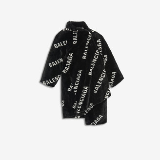 Balenciaga Allover Logo Pulled Opera Coat in black and white jacquard fake fur