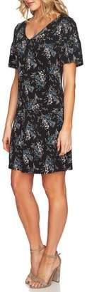 CeCe Floral Smocked Sleeve Shift Dress