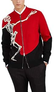 Alexander McQueen Men's Dancing-Skull Wool-Cashmere Zip-Front Sweater - Red