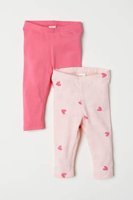 H&M 2-pack Jersey Leggings - Pink