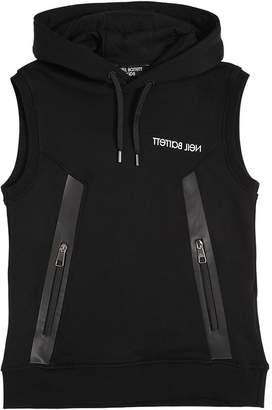Neil Barrett Logo Printed Cotton Sweatshirt Vest