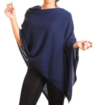 Black Midnight Navy Blue Knitted Cashmere Poncho