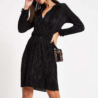 River Island Black plisse wrap front mini dress