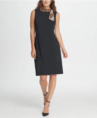 DKNY Animal Tie Neck Sheath Dress