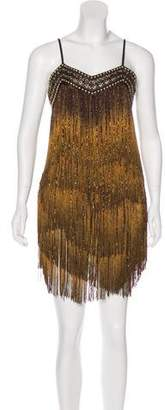 Balmain Leather-Embellished Fringe Dress