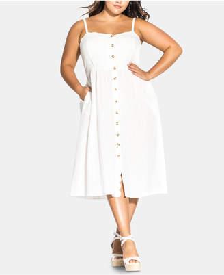 City Chic Plus Size Cotton Scalloped Button-Front Dress