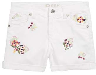 Peek Griffin Embroidered Cuffed Denim Shorts