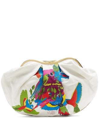 KILOMETRE PARIS Cuba embroidered linen clutch