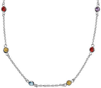 STERLING SILVER CHAINS Silver Reflections Cubic Zirconia 24 Bezel Chain Necklace