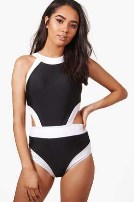 boohoo Petite Colour Block Cut Out Detail Swimsuit
