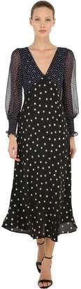 Star Printed Silk Chiffon Midi Dress