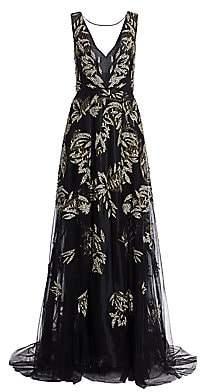 Burnett New York Women's Sleeveless Gold Leaf Embellished Front-Slit Gown