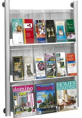 Safco, SAF4134SL, Luxe 9 Pocket Magazine Wall Rack, 1 Each, Silver Frame