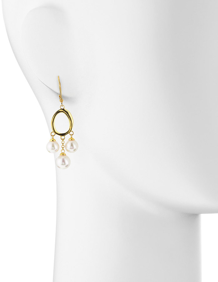 Majorica Three-Pearl Hoop-Drop Earrings