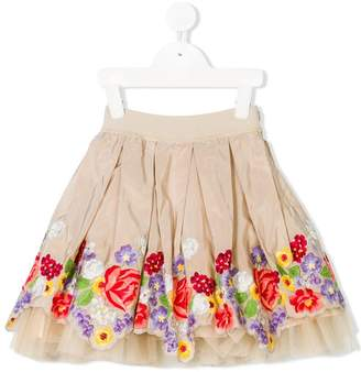 MonnaLisa floral embroidered tulle skirt