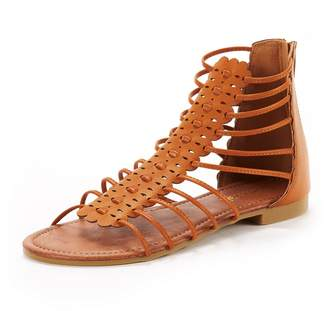 d759a6435425 DREAM PAIRS Women s Roman 01 Nude Fashion Gladiator Design Ankle Strap Flat  Sandals