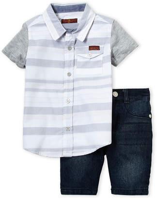 7 For All Mankind Toddler Boys) Two-Piece Pocket Shirt & Denim Shorts Set