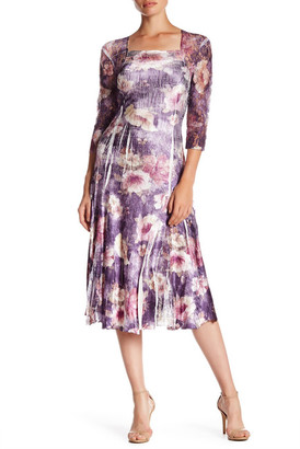 KOMAROV Squareneck 3/4 Sleeve Printed Fit & Flare Dress $278 thestylecure.com
