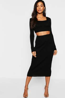 boohoo Rib Knit Long Sleeved Midi Skirt Co-ord