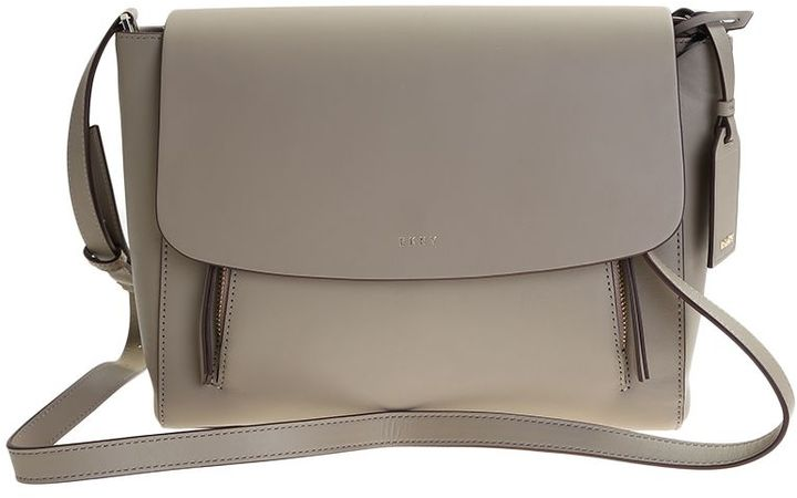 DKNY Grey Leather Greenwich Messenger Bag