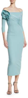 Chiara Boni Alytin Midi Dress w/ Rose Detail