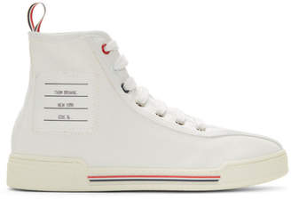 953fabdbbc60 Thom Browne White Tricolor Cupsole High-Top Sneakers
