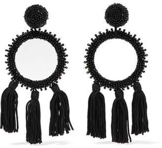 Oscar de la Renta Tasseled Beaded Clip Earrings - Black