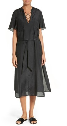 Women's Frame Lace-Up Midi Dress $425 thestylecure.com