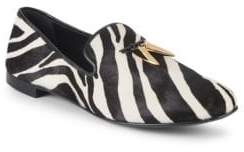 Giuseppe Zanotti Zebra-Print Leather & Calf Hair Smoking Slippers