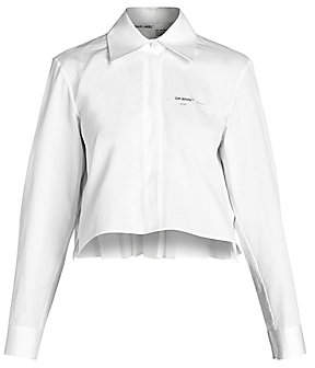 Off-White Women's Cropped Pleated Logo Back Shirt